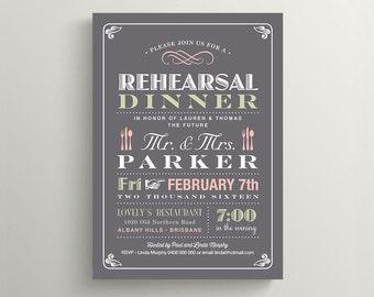 Printable Rehearsal Dinner Invitation \\ Vintage Poster design \\ Grey and Pink Invite (RD11)