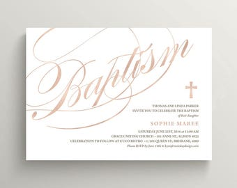 Baptism Invitation \ Girl Baptism \ Boy Baptism \ Rose Gold (CR32)