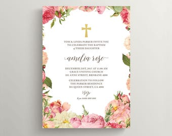 Girl Christening Invitation \ Girl Baptism Invitation \ Printable Invitation \ Floral Invitation (CR61)