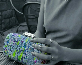 Handpainted Snakeskin Clutch
