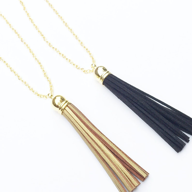 Metallic Gold Suede Leather Tassel Necklace on Gold Filled image 0