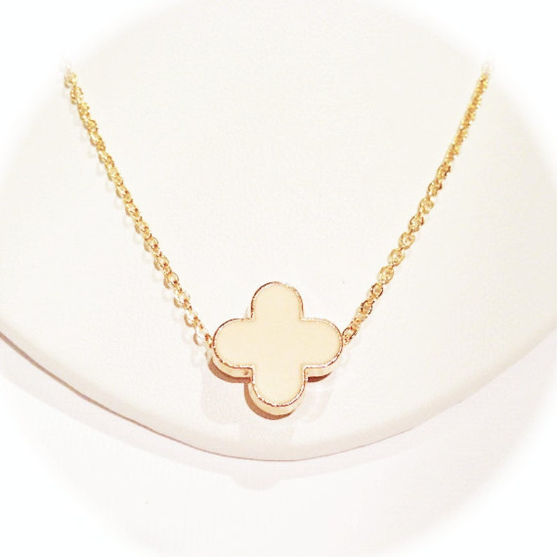 Peach Modern Clover Necklace on Gold Chain image 0