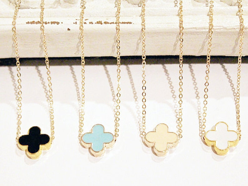 Modern Clover Necklace on Gold Chain  Black  Turquoise Blue image 0