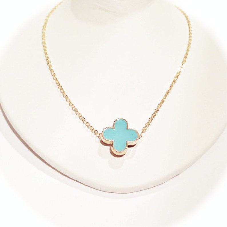 Turquoise Blue Modern Clover Necklace on Gold Chain image 0