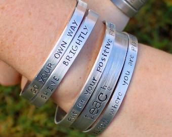 Custom Bracelet, Personalized Bracelet, Custom Name Jewelry, Quote Cuff Bracelet, Gift Idea, Personalize your Jewelry