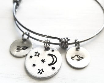 Space Bangle Bracelet, Rocket Saturn Moon and Stars, Astronaut Jewelry, NASA, Starstuff, Outerspace