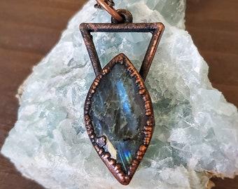 Labradorite Necklace, Blue Flash Crystal Pendant, Copper Electroformed Jewelry