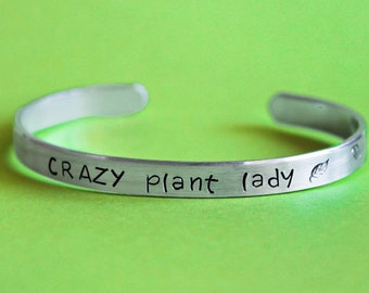 Crazy Plant Lady Bracelet with wrapping Leaves, Gardiner Gift, Gardening, Plant Lover, Florist Jewelry, Flower