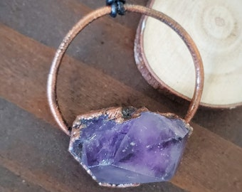 Raw Amethyst Necklace, Big Copper and Chunky Gemstone Pendant Jewelry