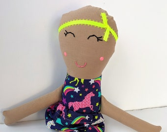 Cloth Doll with Alopecia, Tan Skin, and a Bright Unicorn Print Dress / Rag Doll with Alopecia and Unicorn Print Dress