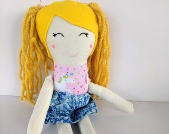 Cloth Doll with Blonde Hair, Light Skin, and a Cute Unicorn Dress