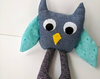 Stuffed Animal Owl Plush with Long Legs and Fun Patterned Fabric