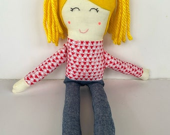 Cloth Doll with Blonde Hair, Light Skin, and a Cute Patterned Top and Jeans