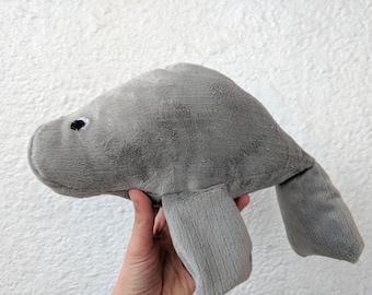 Soft Gray Manatee Plush / Gray Stuffed Animal Manatee Plush