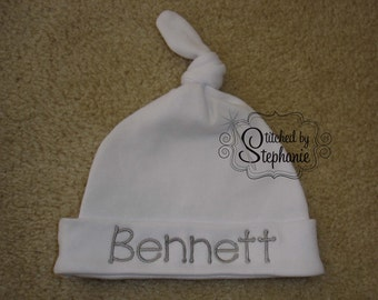 Custom personalized monogrammed personalized name gray on white newborn baby boy hat with knot