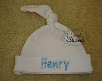 Custom personalized monogrammed personalized name blue on white newborn baby boy hat with knot