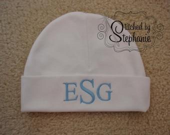 Custom personalized monogrammed blue on white newborn baby boy hat