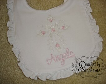 Custom embroidered personalized monogrammed baptism christening dedication cross with flowers ruffle baby bib