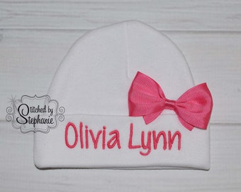 Baby girls white ruffled beanie hat monogrammed pink name embroidered personalized baby shower gift photo prop