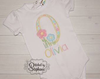 Baby girls pink and blue flower garden initial short sleeve bodysuit or shirt embroidered yellow letter applique personalized with name