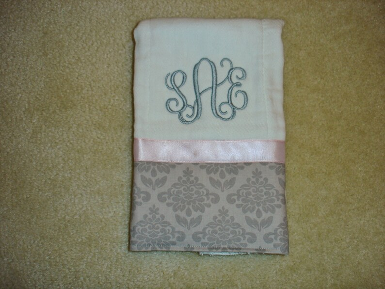 Custom personalized monogrammed 3 initial light pink or white baby girl gown with ruffled sleeves set with damask gray burp cloth