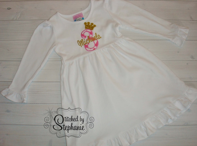 Girls Princess Tiara Crown Birthday Number applique white long sleeve ruffle dress monogrammed embroidered initial personalized name