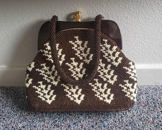 Vintage Beaded Purse Evening Handbag Lucite Frame