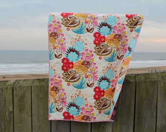 Bright Boho Liberty Lap Quilt or Sofa Throw Traditional Quilt Design Hand Quilted Anna Maria Horner Fabric
