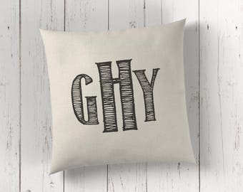 Personalized Monogrammed pillow - throw pillow cover - 16x16 18x18 20x20 - Pillow monogram - Monogram pillow - monogram cushion
