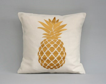 Pineapple Pillow cover, gold pillow, pineapple cushion, throw pillow, metallic gold pillows, 16x16, 18x18, 20x20, 24x 24, 26x26