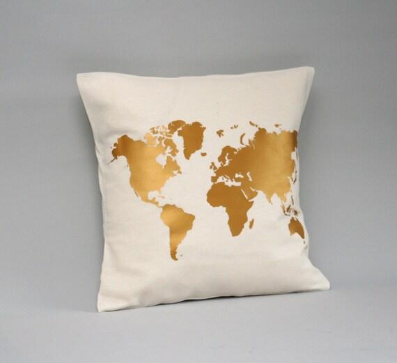 World map pillow cover metallic gold gold worldmap pillow etsy image 0 gumiabroncs Choice Image