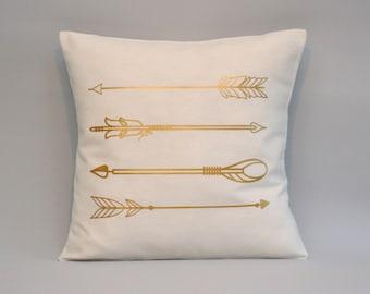 Gold Arrows Pillow cover, gold pillow, Arrow cushion, throw pillow, metallic gold pillows, 16x16, 18x18, 20x20, 24x 24, 26x26, throw pillows