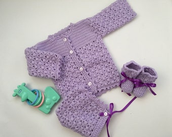 Baby Girl Puff Crochet Sweater Set