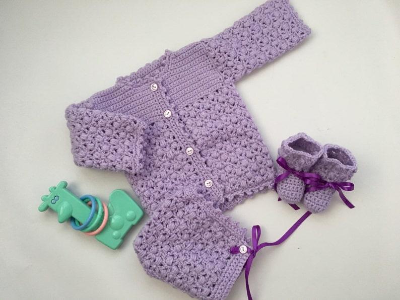 Baby Girl Puff Crochet Sweater Set image 1