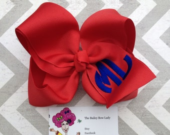 Large two letter circle Monogrammed Hair Bow