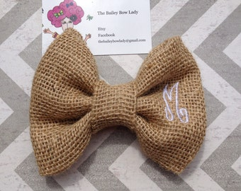 "Ready to Ship Monogrammed ""M"" Burlap Hair Bow"