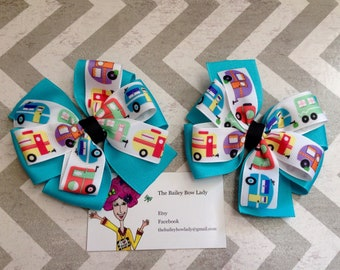 Small Camper Pigtail Hair Bows
