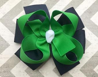 Navy and Hunter Green School Uniform Layered Hair Bow Toddler to Big Girl Handmade