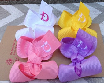 Set of (4) Small Monogrammed Boutique Style Hair Bows