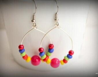 Multi-colored hoop earrings.