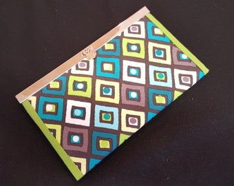Cute little wallet - Geometric diamonds in Lime, Brown and Turquoise