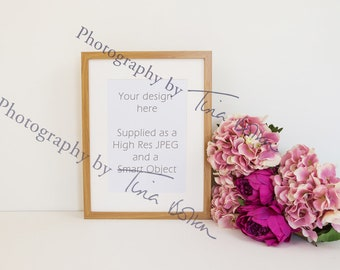 Download Free Oak wooden Frame with mount, portrait mock up, pink floral. Perfect mockup for prints A3 and A4 PSD Template