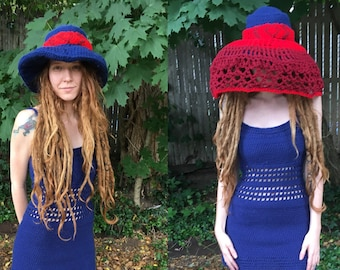 Veiled Hat, Three Piece Set Veil, Hat, and Band, Crochet Brimmed Hat, Deep Blue and Red Wide Brimmed Hat, Hat with Veil, Wide Brim Hat,