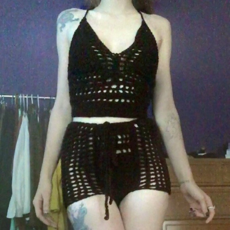 a65e8eb7295c4 Crochet Top and Shorts Set High Waist Booty Shorts and Lace