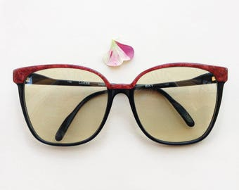 e672f54aa9f LOZZA Vintage sunglasses   70s NOS oversized designer frames   butterfly  cateye black glasses   Luxury eyewear made in Italy eyeglasses