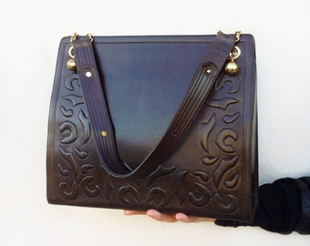 5690a01ce4d5d7 JITROIS maxi bag / Vintage brown leather handbag / boho top handle shoulder  bag / embossed boxy satchel / high fashion designer purse /
