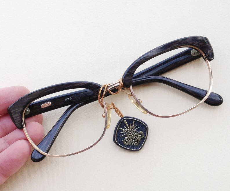 a06872e8ea Filos 60s eyeglasses   1960s NOS Vintage browline hipster frames