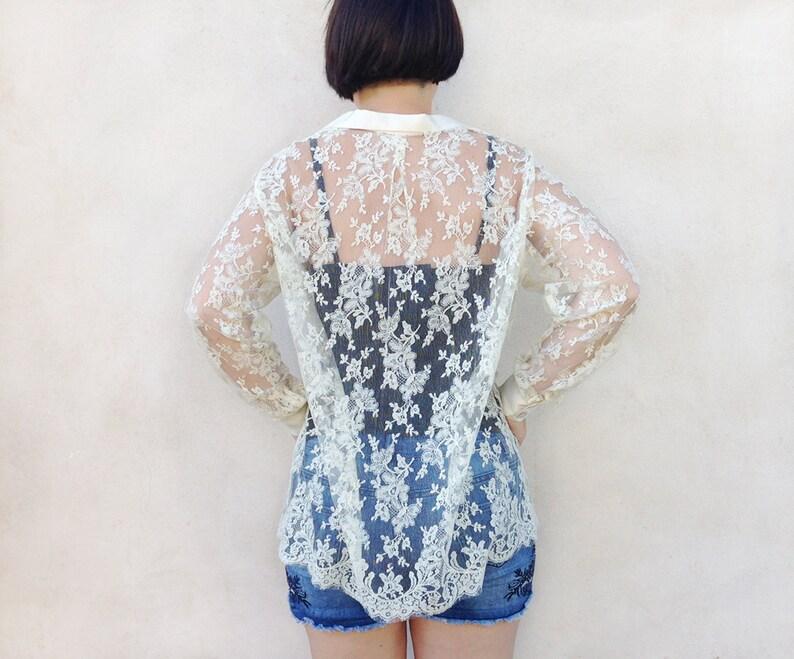 7caccf3f77 Sheer lace shirt   mesh ivory cream women s top   long