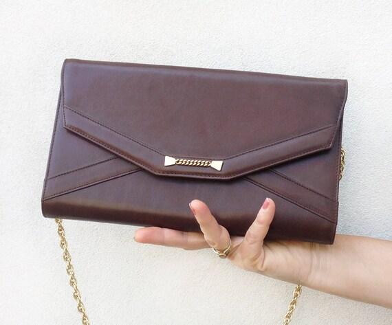 Leather clutch Bag / Vintage 70s pochette / brown