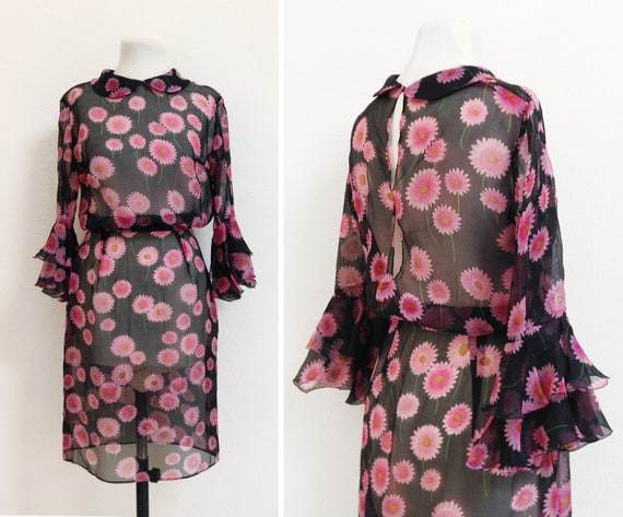 Sheer Organza dress / Vintage bell sleeve floral c